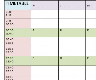 Blank Timetable Template