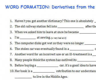 Word Formation: Derivatives From The Root Word USE