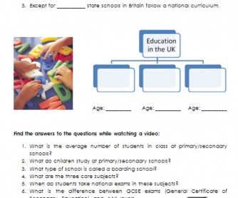 Education in the UK [VIDEO worksheet]