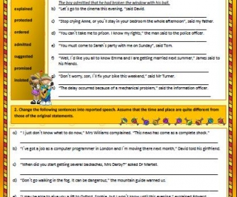Reported Speech Intermediate Worksheet