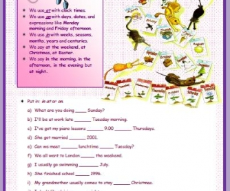 Prepositions of Time Elementary Worksheet