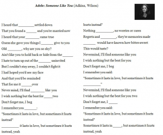 Song Worksheet: Someone Like You by Adele [Alternative II]