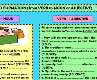 Word Formation (from Verb to Noun or Adjective)