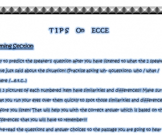 Tips on ECCE Exams