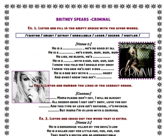 Song Worksheet: Criminal by Britney Spears