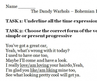 Song Worksheet: Bohemian Like You by The Dandy Warhols