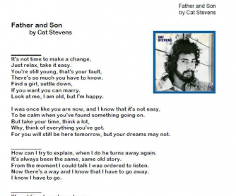 Song Worksheet: Father And Son by Cat Stevens