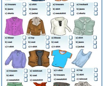 Clothes Multiple Choice Activity