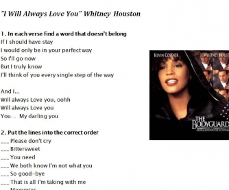 Song Worksheet: I Will Always Love You by Whitney Houston