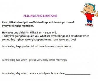 Feelings and Emotions Primary Worksheet