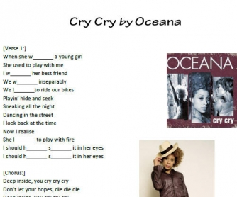 Song Worksheet: Cry Cry by Oceana (Simple Past)