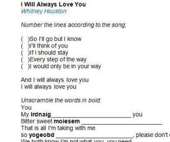 Song Worksheet: I Will Always Love You by Whitney Houston [Alternative]