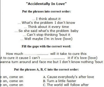 Song Worksheet: Accidentally In Love by Counting Crows
