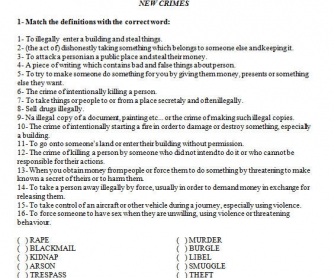 Crime Vocabulary Worksheet