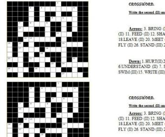 Irregular Verbs Crossword