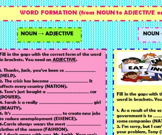 Word Formation (from Noun to Verb or Adjective)
