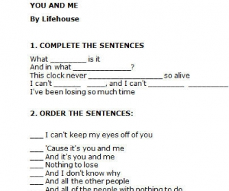 Song Worksheet: You and Me by Lifehouse
