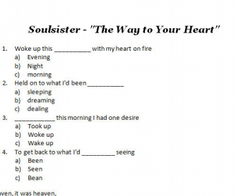 Song Worksheet: Soul Sister by Train