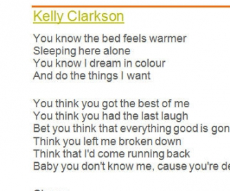 Guessing Video from Lyrics - Song Worksheet: Stronger by Kelly Clarkson