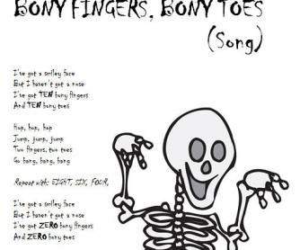 Halloween Song Worksheet:- Bony Fingers, Bony Toes