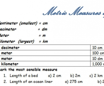 Metric Measures of Length Worksheet