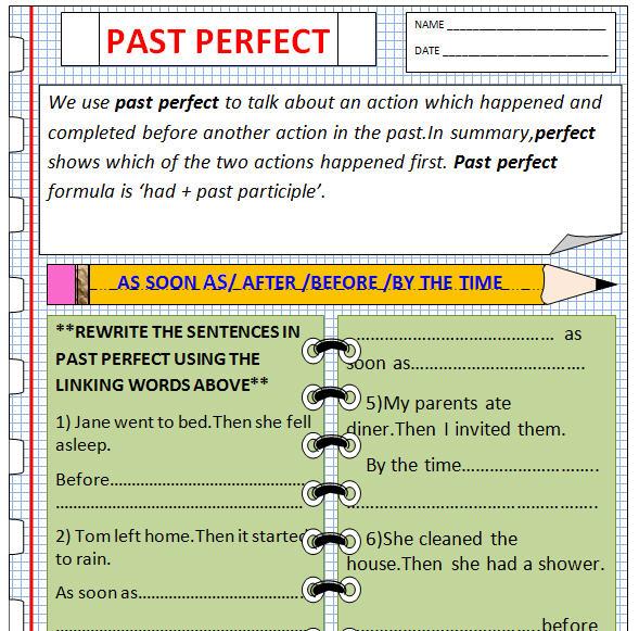 Perfect Worksheet – Past Perfect Worksheet