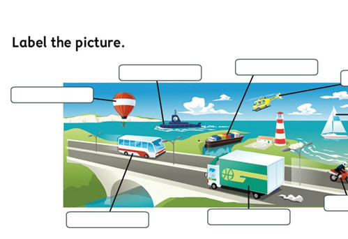 activities to identify different types of transport & their uses.