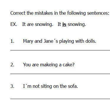 Student grammar error correction worksheet with typical errors made in ...