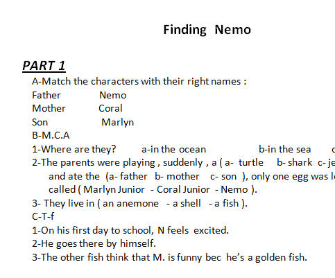 Movie Worksheet: Finding Nemo