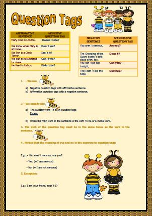 tag questions elementary worksheet. Black Bedroom Furniture Sets. Home Design Ideas