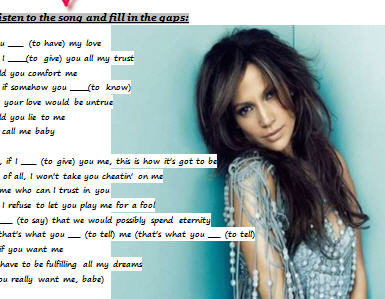 Song Worksheet If You Had My Life By Jennifer Lopez