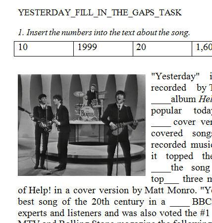 Song Worksheet: Yesterday by The Beatles [Alternative]