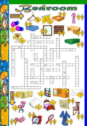 Bedroom Vocabulary Picture Crossword