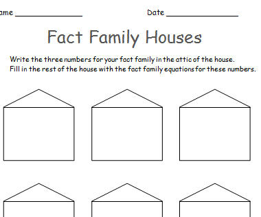 Fact Family House Template on Keep On Rollin Dice Games