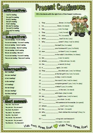 Verb Tenses: Present Continuous Worksheet