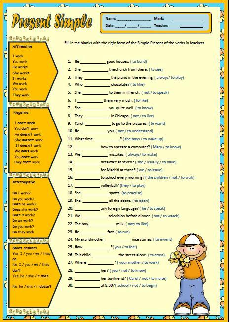 Revising Verb Tenses: Present Simple Worksheet