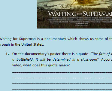 Waiting For Superman Worksheet Documentary