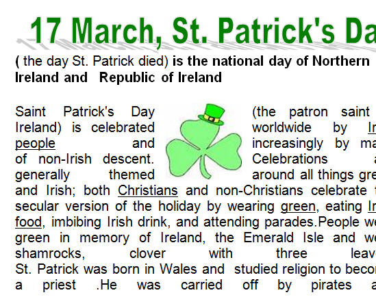 Free St Patrick S Day Comprehension Page Best Worksheets ...
