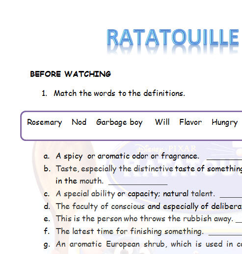 ratatouille movie worksheet. Black Bedroom Furniture Sets. Home Design Ideas