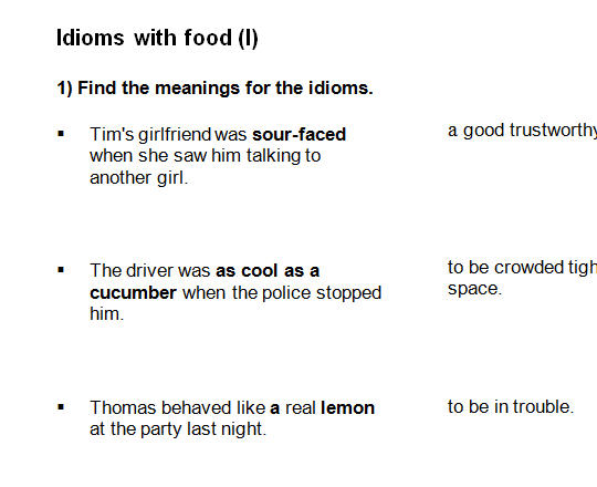 Worksheets Worksheet Idioms Food with food idioms food