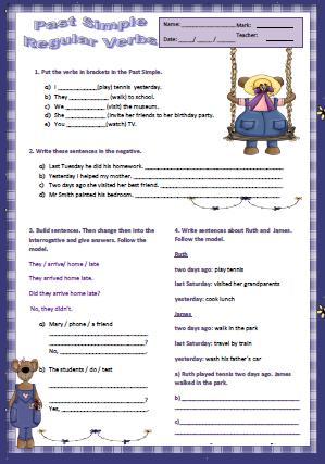 Simple Past Tense Regular Verbs Worksheet