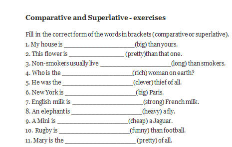 Superlative And Comparative Adjectives Worksheet - Oaklandeffect