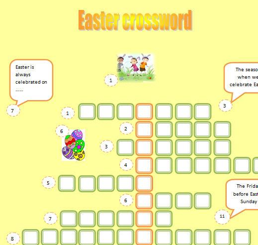 Modular Classroom Crossword ~ Easter crossword
