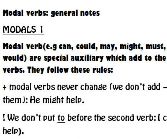 Notes for Modal Verbs 1, 2 and 3