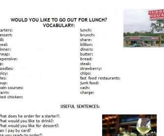 Would You Like...? Eating Out Worksheet
