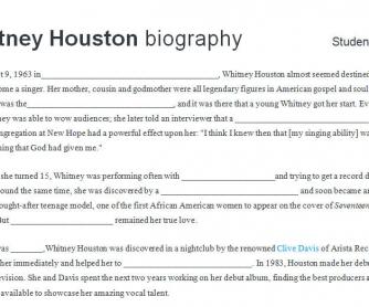 Whitney Houston: Biography Pairwork Worksheet