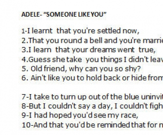 Song Worksheet: Someone Like You by Adele [Alternative III]