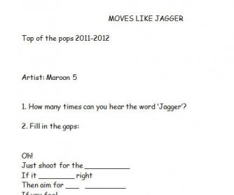 Song Worksheet: Moves Like Jagger by Maroon 5