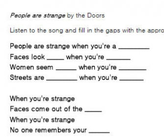 Song Worksheet: People Are Strange by The Doors