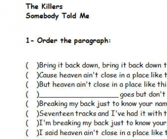 Song Worksheet: Somebody Told Me by The Killers